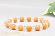 オレンジアベンチュリン パワーストーンブレスレット 水晶ボタン交互