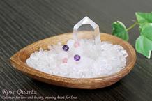 ローズクォーツさざれ浄化セット(水晶ポイント、癒しパワーリング、アカシア木製皿・ドロップ)