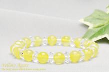 黄メノウ パワーストーンブレスレット 水晶ボタン交互
